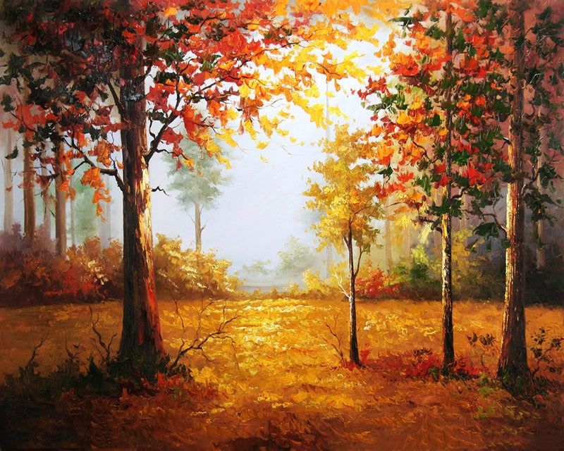 Forest Autumn Landscape DIY Painting By Numbers Picture On Wall Hand Painted Oil Painting On Canvas