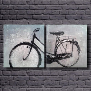 Canvas Painting Wall Pictures Skill Artist Handmade Bicycle Wall Art 2 pieces Canvas Art Abstract
