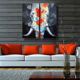 Colorful Elephant Animal Oil Painting 100% Hand Painted 2 Panel Canvas Wall Art Modern Oil Painting Canvas Painting