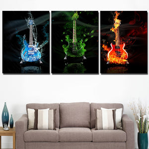 HD Printed 3 Panel Canvas Art Music Guitar Painting Wall Art Decoration Cuadros Poster Picture