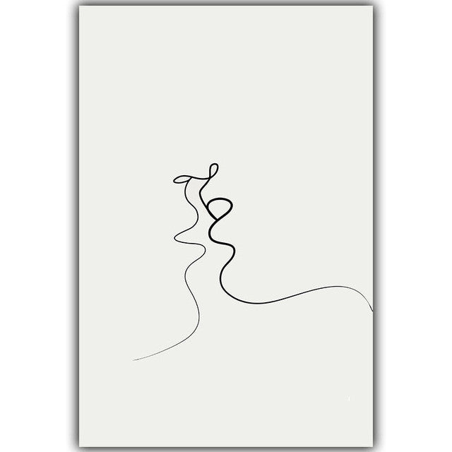 Simple Line Curve Black White Abstract Painting Kiss A4 Art Print Poster Canvas Painting Combined Painting Home Decor