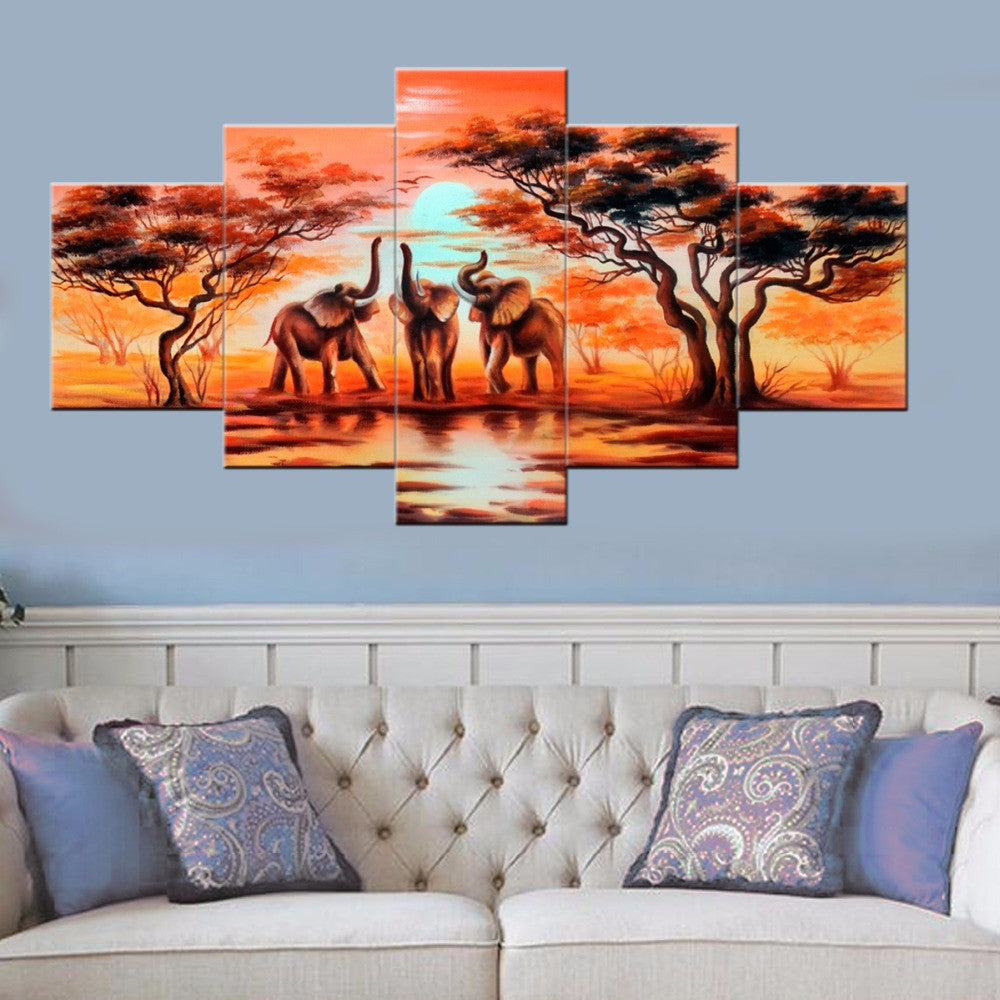 HD Printed 5 Piece Canvas Art The African Elephants Painting Animal Decor Print Poster Wall Art