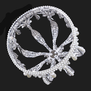 Vintage Silver Color Rhinestone Simulated Pearl Wedding Crown Bridal Tiara Baroque