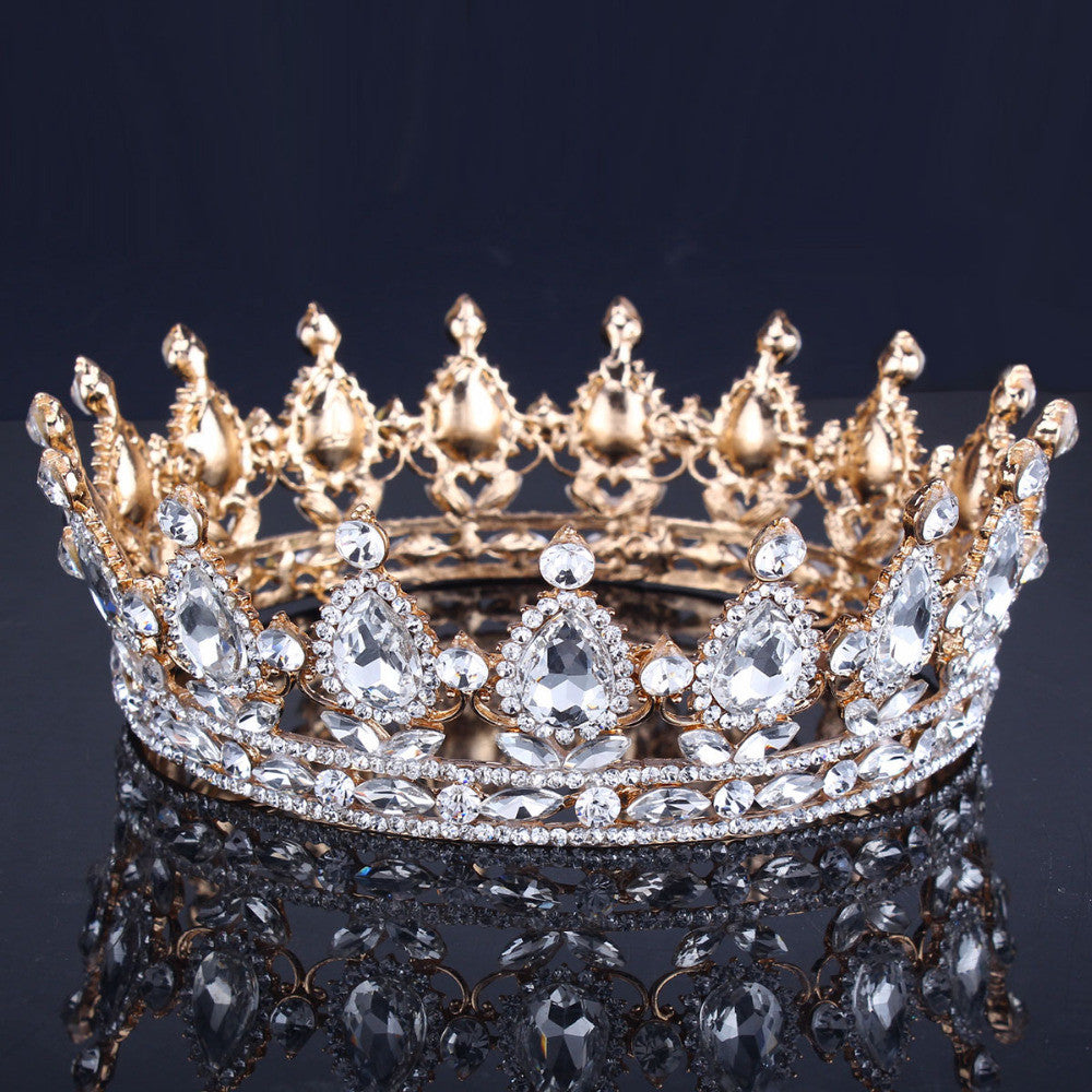 Gold Wedding Crown Alloy Bridal Tiara Baroque Queen King Crown Gold Color Rhinestone