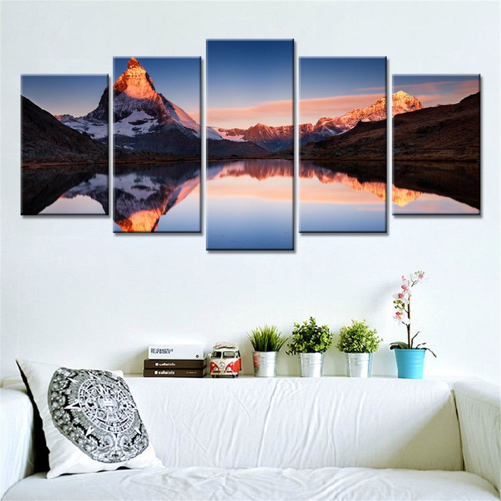 5 Pieces Sunrise Snow Mountains Lake Home Wall Decor Canvas Picture Art Print Painting Canvas Arts