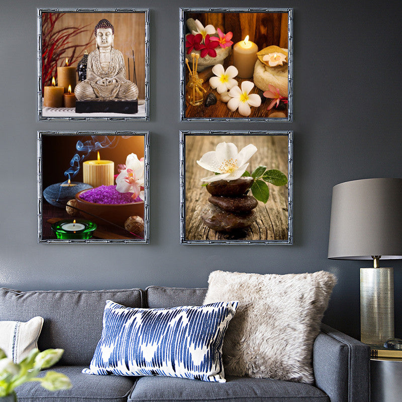 4 Piece Canvas Art Printed Buddha Painting Picture Buddha Paintings Wall Pictures