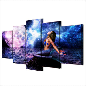 5 Pieces Canvas Paintings Printed Moon Aurora Mermaid Night Wall Art Modular Living Room