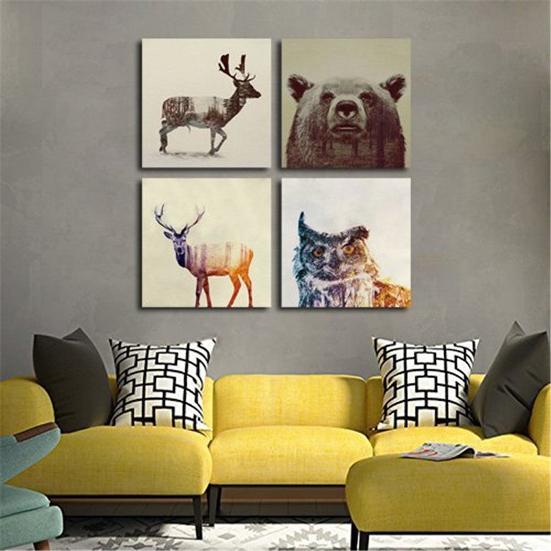 Watercolor Nordic Animal Lion Bear Panda Art Prints Poster Hipster Wall Picture Canvas Painting Kids