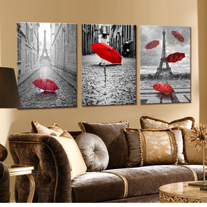 Eiffel Tower With Red Umbrella Paris Street Painting Romantic Picture Artwork Prints Canvas