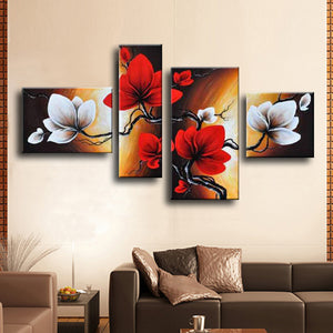 Abstract Flower Oil Painting Hand Painted Red Wall Art Canvas 4 Panel Home Decoration Picture