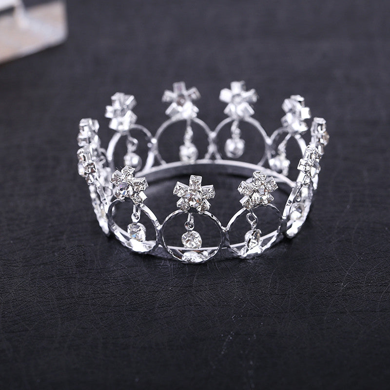 Direct Selling Trendy Zinc Alloy Tiaras Mini And Rhinestone Round Tiara Crown