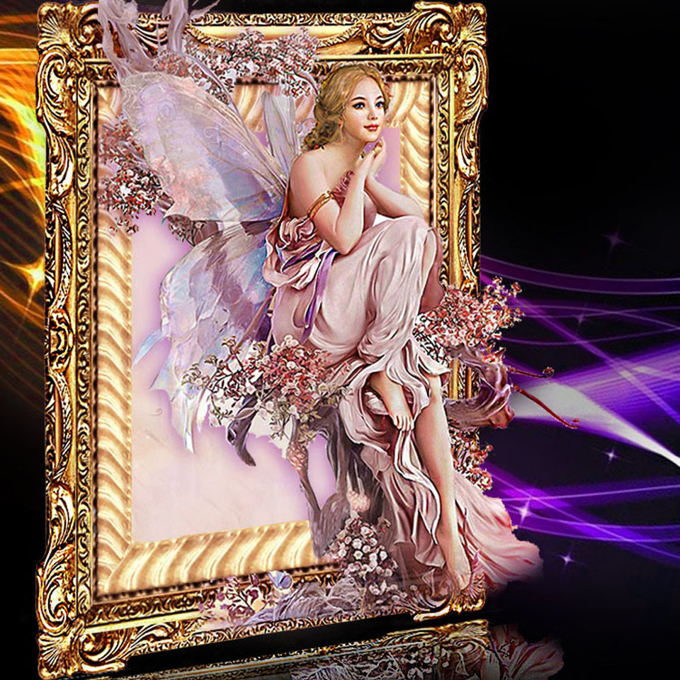 5D DIY Diamond Painting Fairy Mosaic Crystal Round Rhinestone Portrait Embroidery Cross Stitch