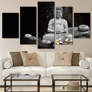 HD Printed 5 Piece Canvas Aart Buddha Meditation Rain Pebble Painting East Wall Art Canvas Painting