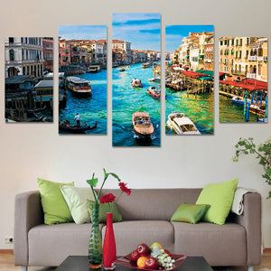 HD Printed 5 Piece Canvas Art Paintings Venice Water City Boat River Canvas Wall Art Posters And Prints