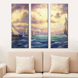 3 Panel Abstract Sea Landscape Print Canvas Art Oil Painting Modular Picture