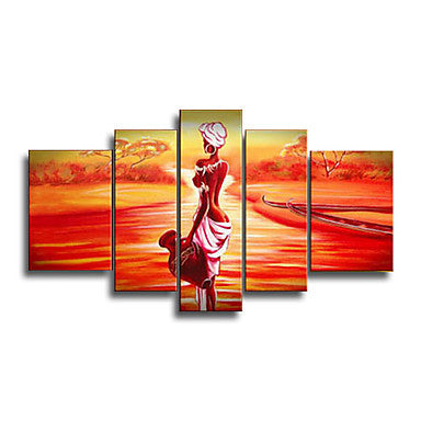 Red Canvas Painting Hand painted Abstract African Women Oil Paintings on Canvas Wall Pictures