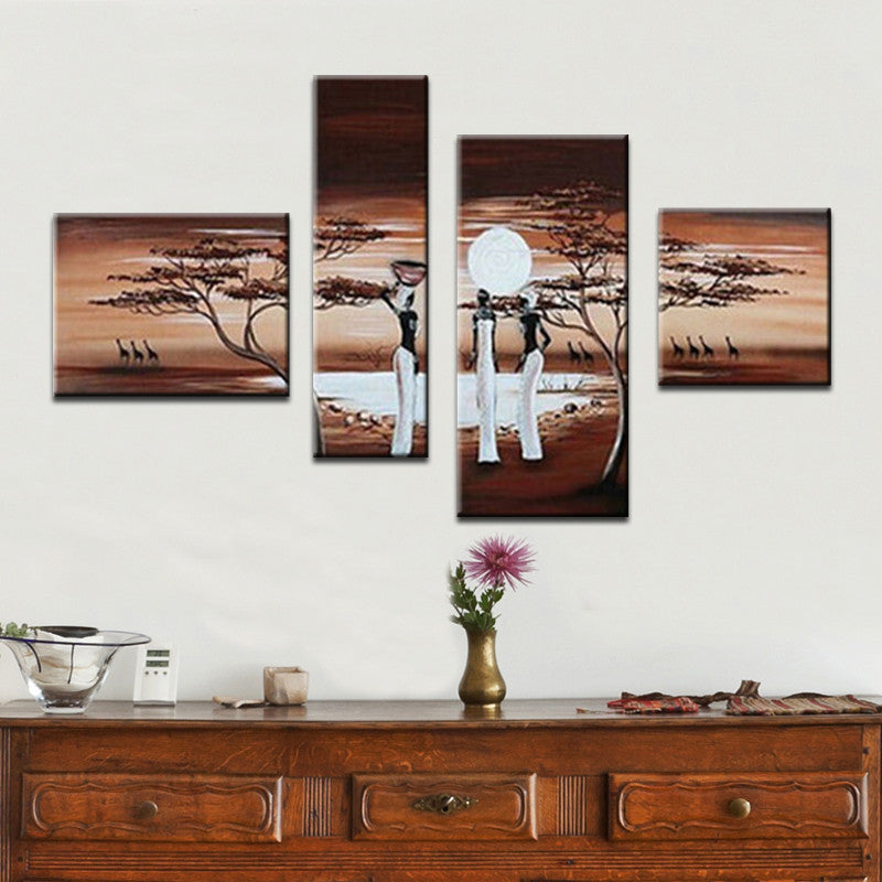 Painted Landscape African Abstract Oil Painting Canvas Art Wall