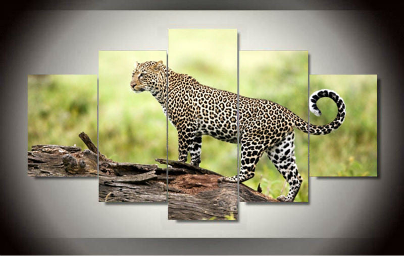 5 Panel Printed African Leopard Canvas Art Oil Painting Picture Home Decor Living Room