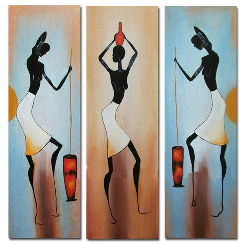 Hand Painted Abstract Oil Painting Canvas African Women Figure Picture Wall 3 Panel