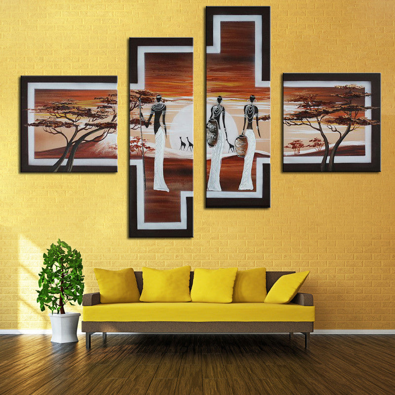 Oil Painting Set Hand Painted African Life Abstract Oil Canvas African Women Pictures