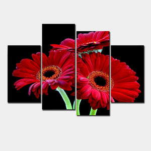 Wall Art Home Decoration Printed Oil Painting Pictures 4 Panel Canvas Prints African Red Daisies Prints