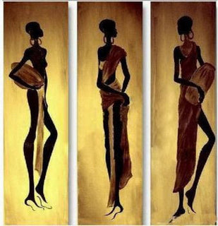 3 pcs Handmade Abstract Oil Painting Canvas Paintings Wall art-African Women