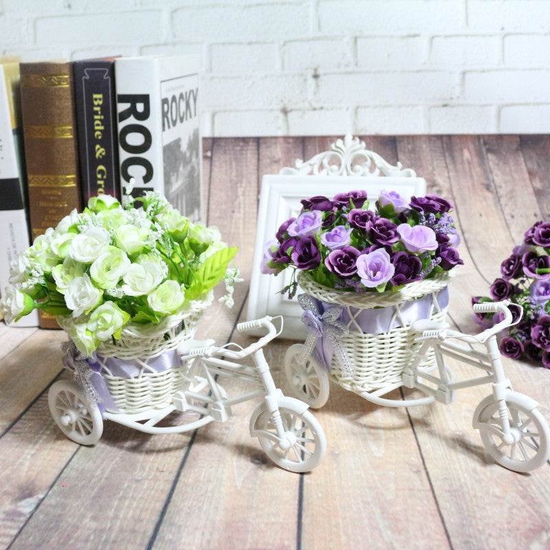 Motorcycle Design Tricycle White Flower Basket  DIY Plastic Flower Plant Wedding Container