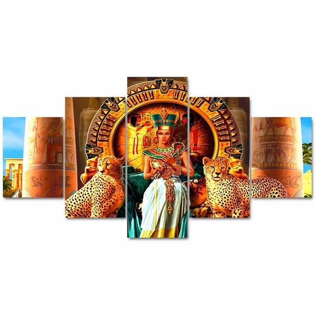 5 Panel Wall Art Egyptian Queen Pictures Prints On Canvas Paintings