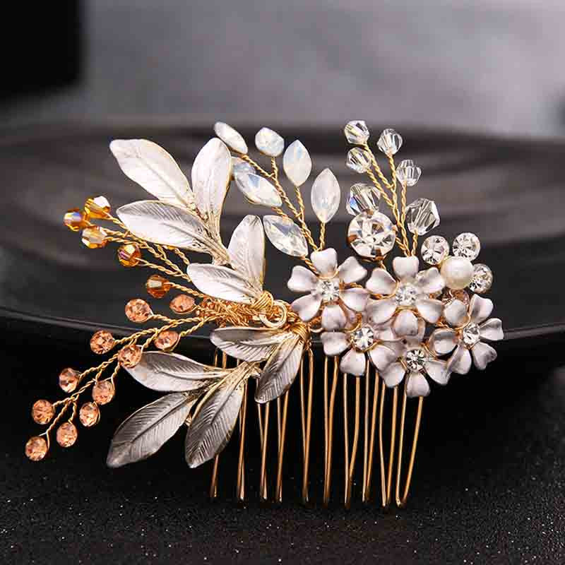 Rhinestone Crystals Wedding Hair Accessories Bride Bridal Floral Hair Comb Pieces Hair Clips Pins Jewelry