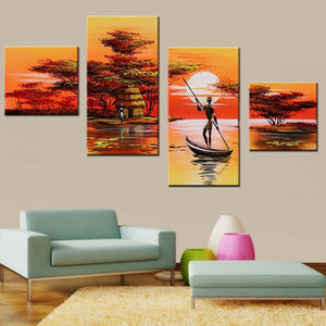 African Women Painting Hand Painted Abstract African Landscape Painting Set  Wall Art Canvas Pictures