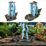 1pcs Aquarium Decor Resin Wreck Sunk Ship Aquarium Ornament Sailing Boat Destroyer Fish Tank Decoration