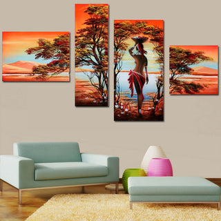 African Abstract Oil Painting Nude Sexy Nude Women Tree On Canvas 4 Panel Art Set Home Wall Decorative