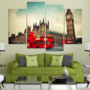 HD Printed 4pcs London Clock Tower Red Bus Painting Canvas Room Decoration Print Poster Picture