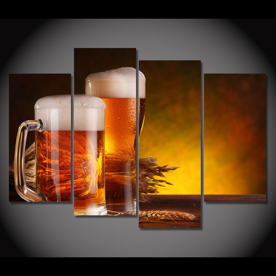 HD Printed 4 Pcs Beer Glass Foam Beverage Painting Canvas Print Room Decor Print Poster Picture