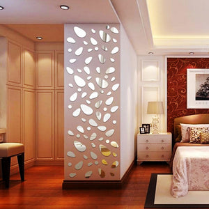 12pcs/set 3d Diy wall sticker decoration mirror wall stickers for TV background home decor Modern Acrylic