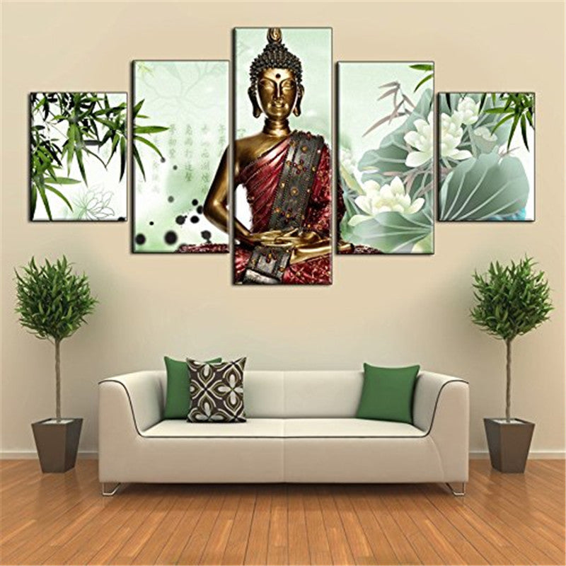 Religion Buddha Hand Painted Oil Paintings On Canvas Contemporary Living Room 5