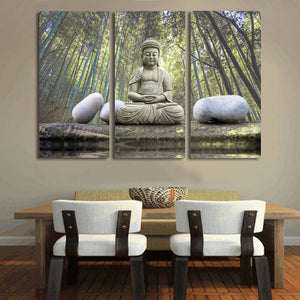HD Printed Buddha Stone Bamboo Forest Painting Canvas Print Room Decor Print Poster Picture Canvas