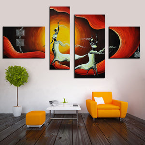 African Woman Dancing Group 4 Panels Canvas Art Abstract Painting Hand Figure