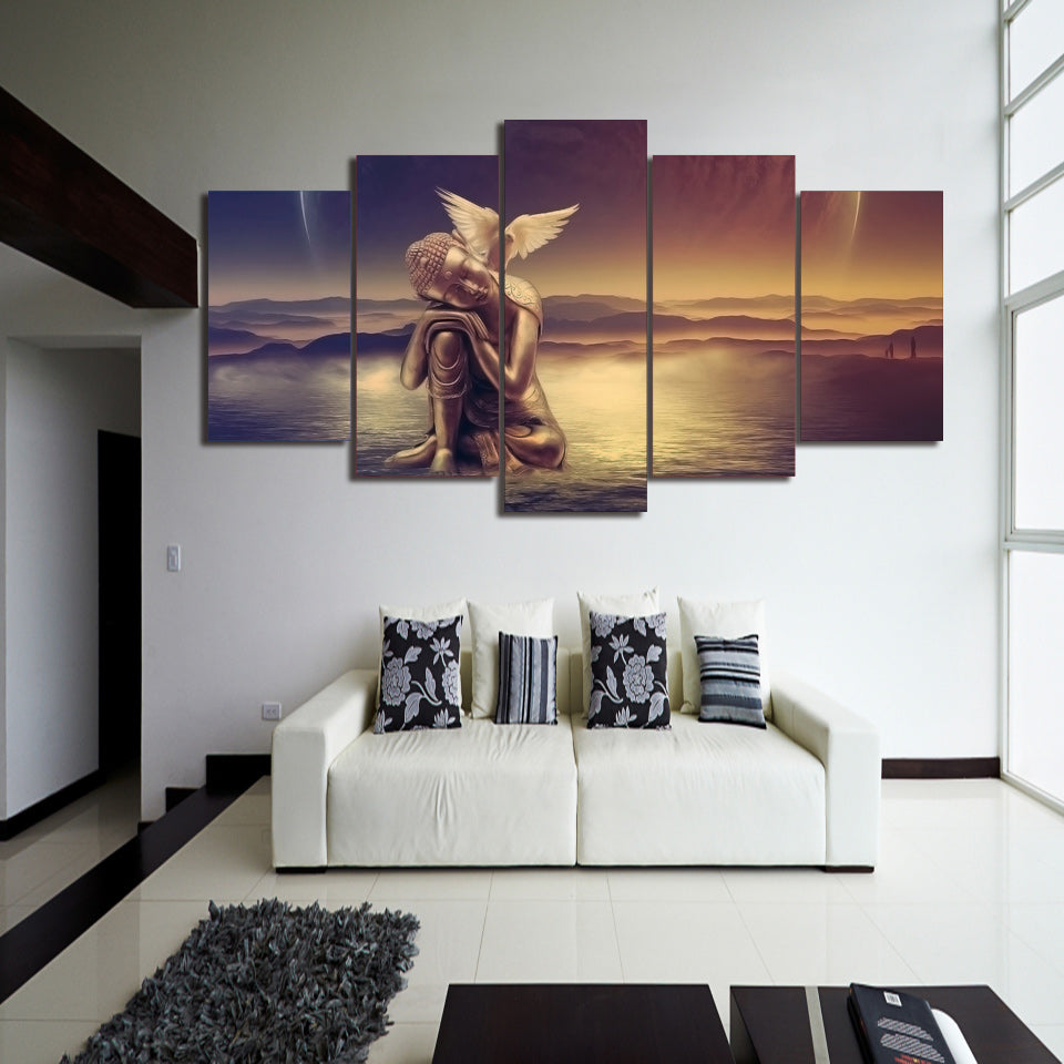 HD Print 5 Piece Canvas Art Angel Peace Dove Painting  House Decoration
