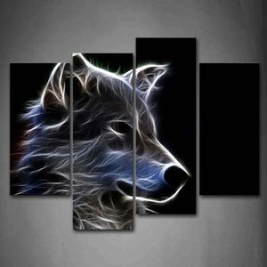 Grey Wolf Wall Art Painting Pictures Print On Canvas Animal The Picture