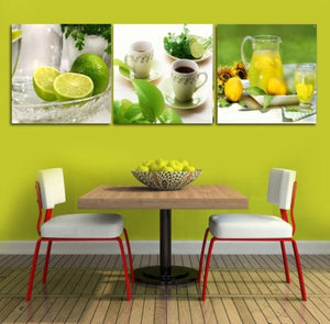 3 Panels Canvas Photo Prints Lemon Tea Wall Art Picture Canvas Paintings Wall