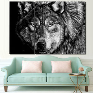 3 Piece Canvas Art Wolf Poster Black White Picture HD Printed Wall Art Home Decor Painting Prints