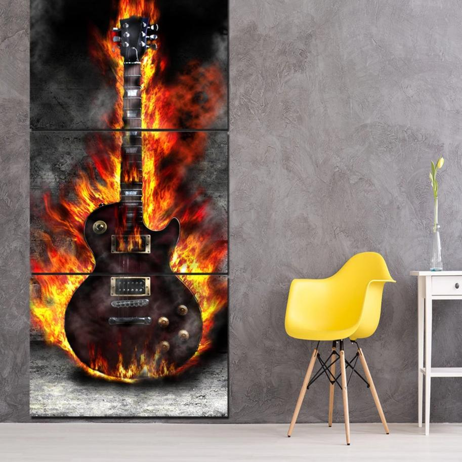 hd printed 3 panel canvas art burning guitar canvas painting room