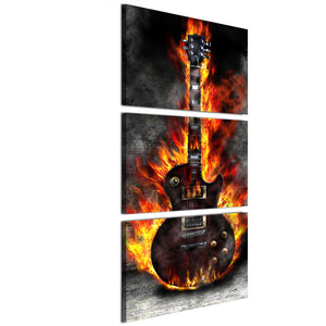 HD Printed 3 Panel Canvas Art Burning Guitar Canvas Painting Art Posters Picture
