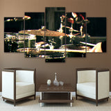5 Pieces Canvas Paintings Printed Drummms Musical Instruments  Wall Art Canvas