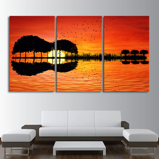3 Piece Canvas Wall Art HD Printed Guitar Tree Lake Sunset Painting Room Decor Print Poster Picture