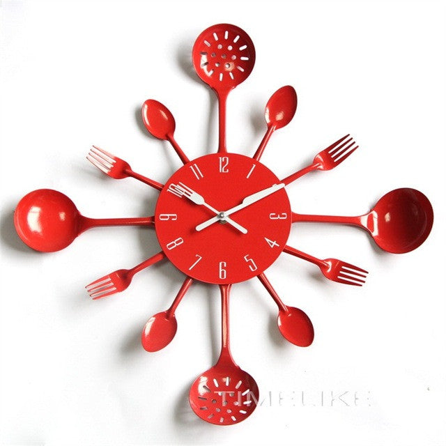Clock Cool Design Wall Clock Kitchen Reloj Metal Spoon Spork Shape Wall Mounted Clock