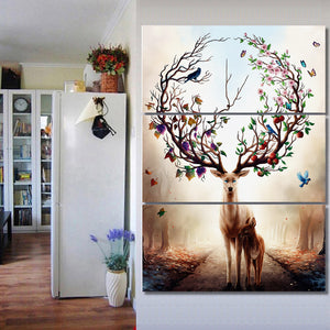 3 Piece Canvas Art Dream Forest Elk Poster HD Printed Wall Art Home Decor Canvas Painting Picture Prints