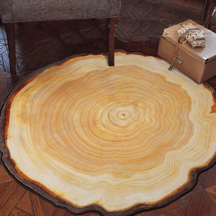 Antique Wood Tree Annual Ring Round Carpet