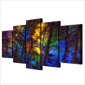 HD Printed 5 Piece Canvas Art Colorful Forest Tree Poster Paintings Living Room Decor Wall Canvas Art